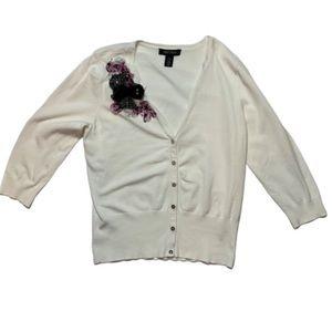 WHBM white cardigan shoulder embellishments EUC M